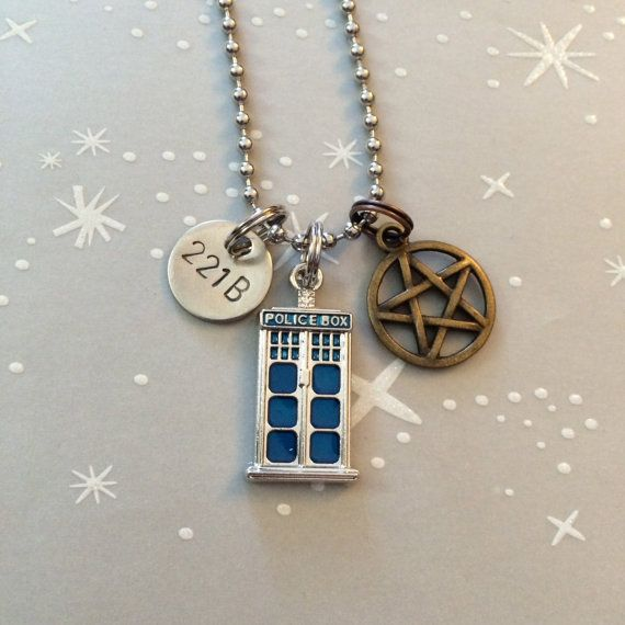 The Tiny SuperWhoLock Fandom Necklace / Keychain by dalilicequeen