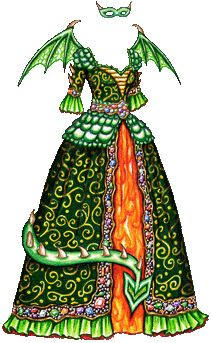 A green masquerade gown patterned with dragon scales at the waist and shoulders, a green overskirt patterned with rich golden swirls and trimmed with multicolored jewels and a flame-colored underskirt. It has delicate green wings and a dragon tail that curls in front of the skirt.