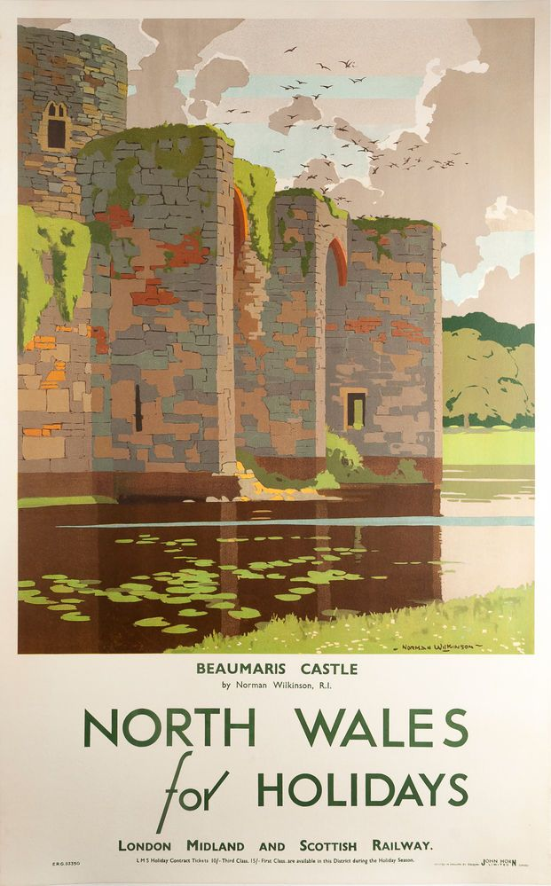 North Wales for Holidays, Beaumaris Castle. Travel Poster