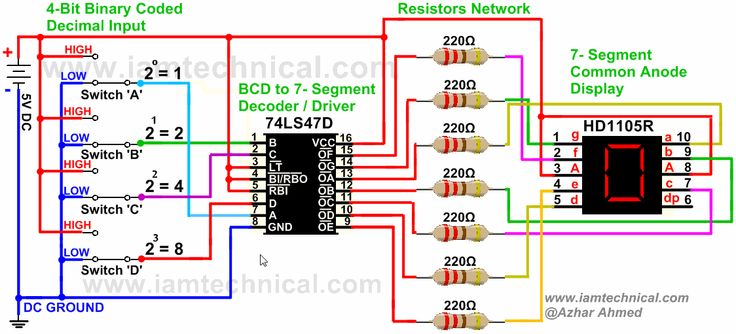 BCD to 7-Segment Display Driver 74LS47D Connected With HD1105R Common Anode Displaying Decimal '4' | IamTechnical.com