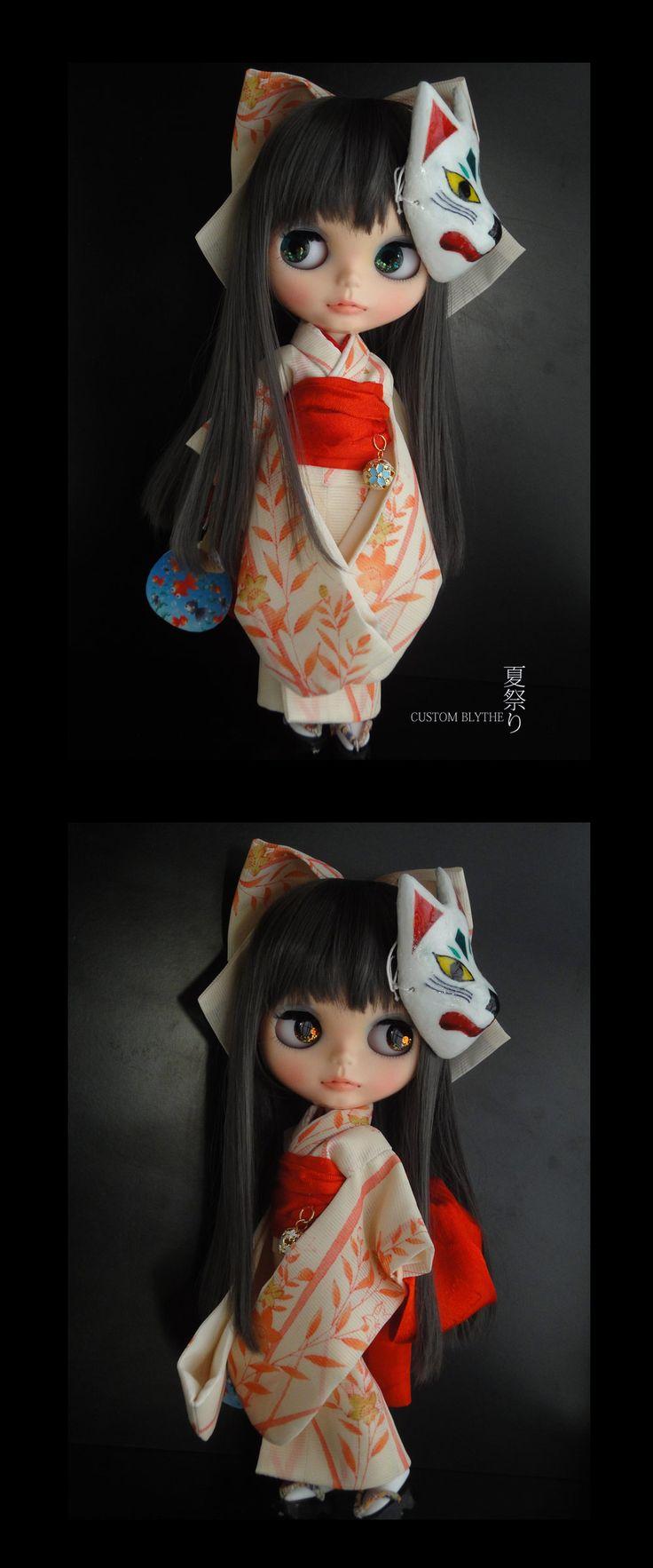 Kyohiroカスタムブライス☆正絹赤絵の絽☆夏祭り☆狐のお面♪ - ヤフオク!