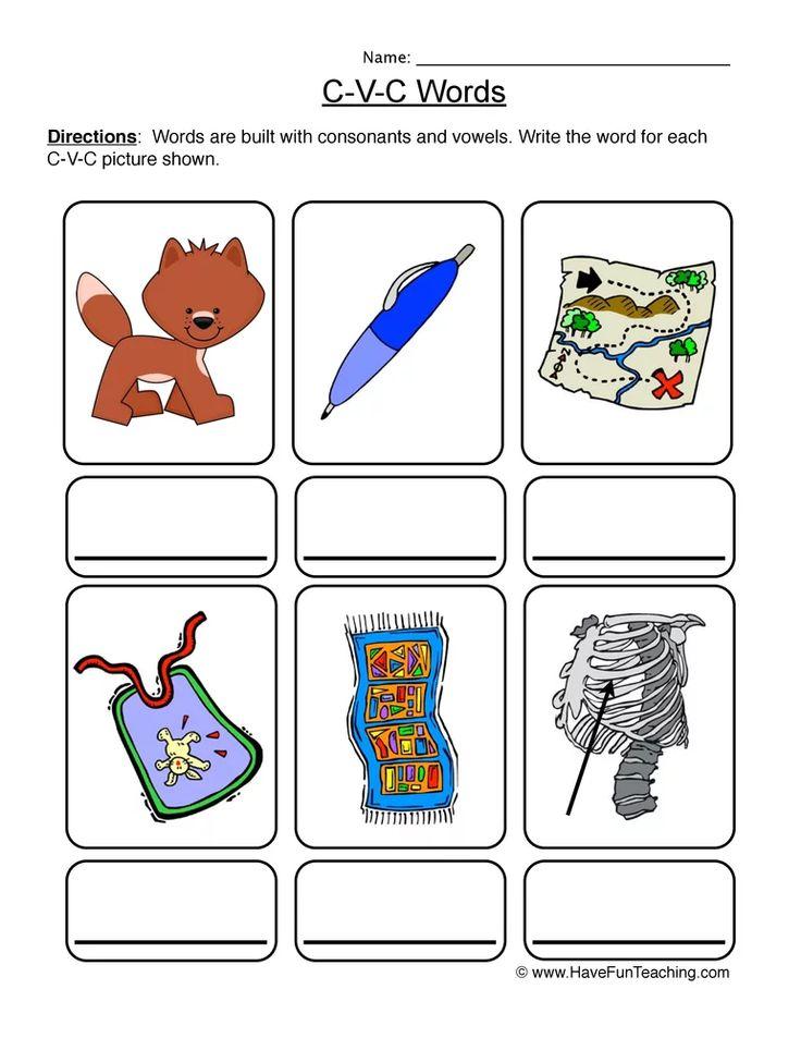 Cvc worksheet write the words cvc worksheets phonics