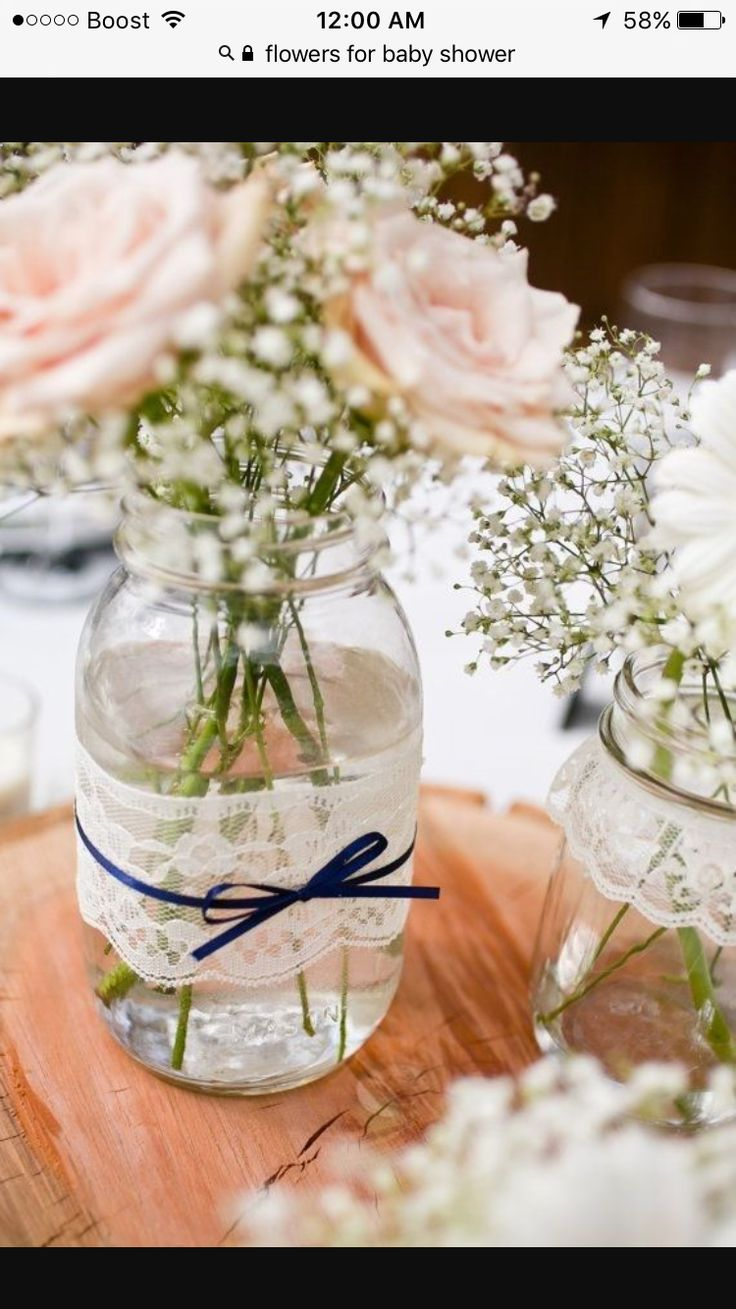 Could easily DIY this. Love just the lace and ribbon around the jar. With  royal blue and gray/silver ribbon. Lace mason jar vases - large quart size  - set ...