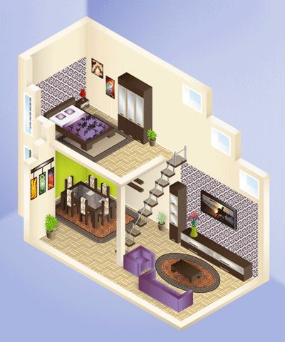 Tutorial: learn how to draw an isometric house structure, isometric furniture, how to apply a wallpaper, a floor texture and many other useful things.