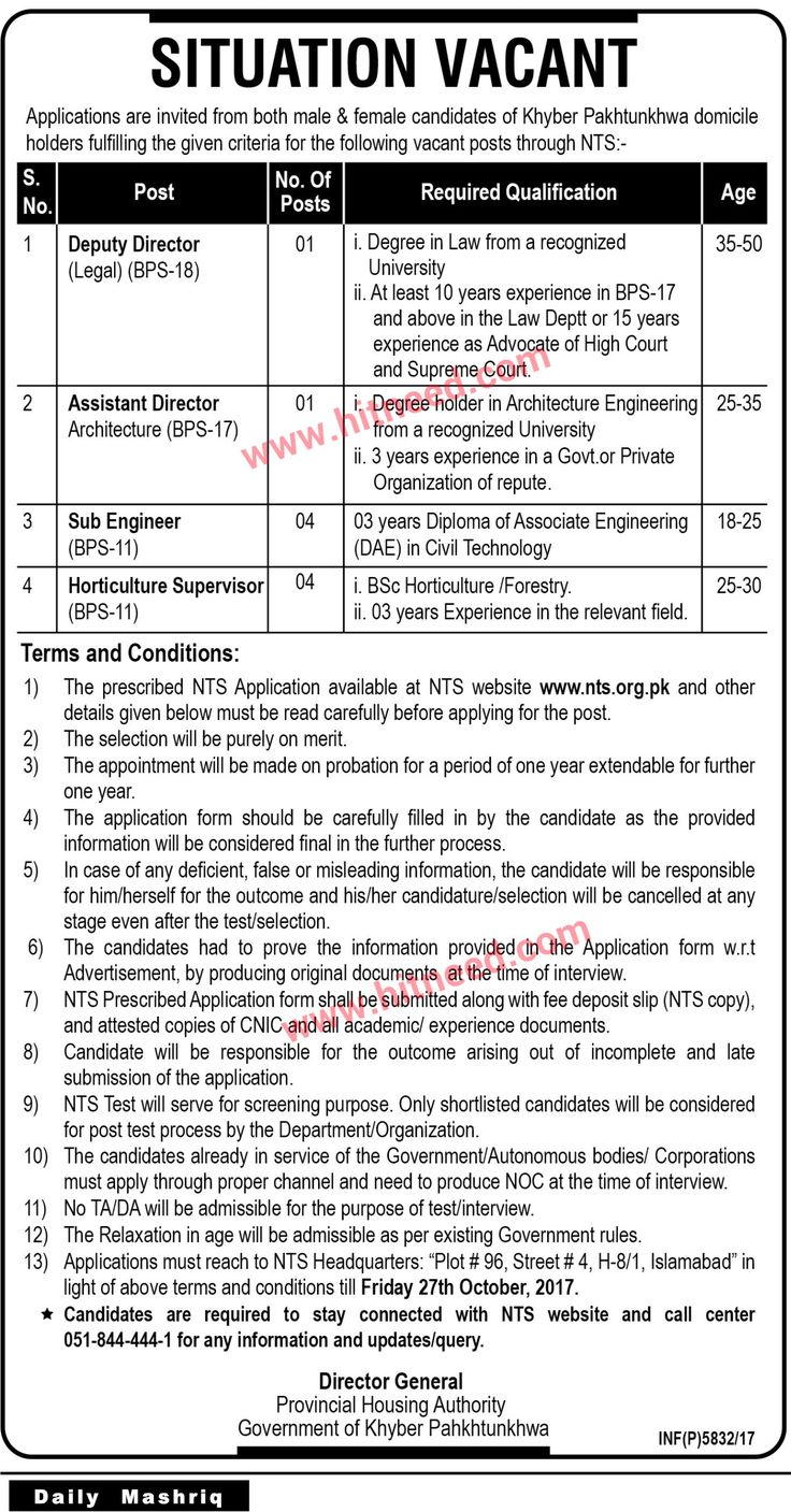 Provincial housing authority pha peshawar deputy director legal other jobs oct