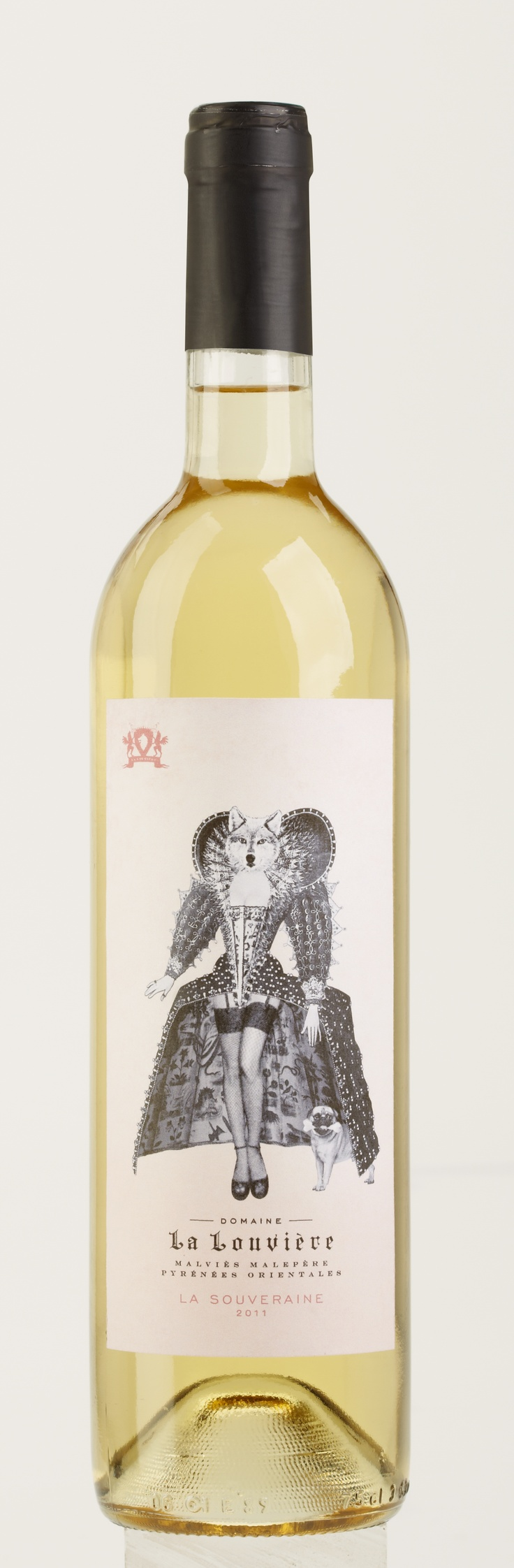 Domaine La Louvière - La Souveraine - a white wine made out of Chardonnay and aged 8 month in oak barrels, presented with a very sexy wine label