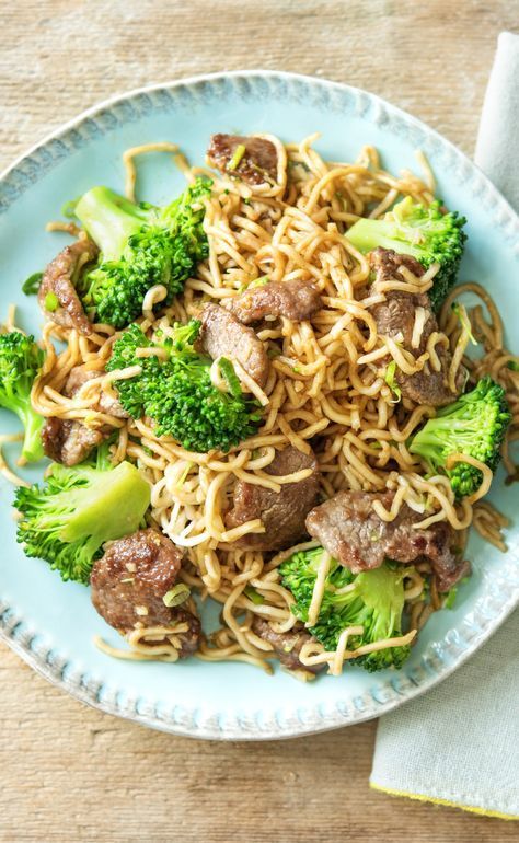 Although we have a whole slew of different noodles to choose from for our Asian dishes, yakisoba is one of our all-time favorites. A quick stir-fry in the pan is all it takes for them to become tender. With crispy beef, tender broccoli, and aromatics, this dish puts instant ramen to shame.