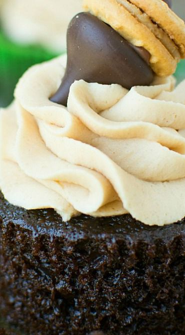 Moist Chocolate Cupcakes with Peanut Butter Frosting
