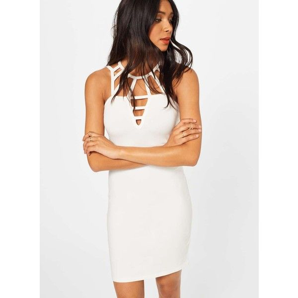 Miss Selfridge PETITE Cage Bodycon Dress ($26) ❤ liked on Polyvore featuring dresses, ivory, petite, body con dress, white bodycon dress, ivory dress, petite white dresses and petite bodycon dresses