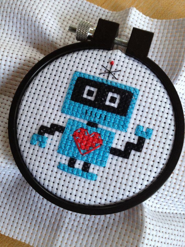 Framed robot cross stitch