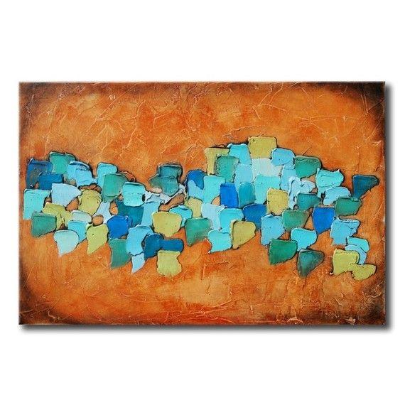 Verde AZULADO y AZUL pintura abstracta gran Resumen mixta