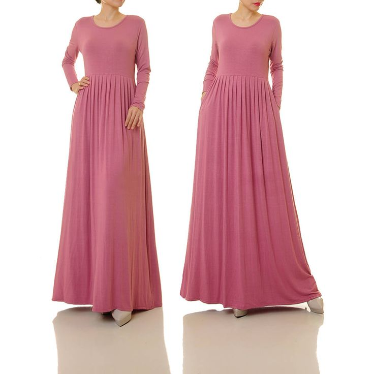 Dusty Pink Dress | Long Mauve Dress For Women | Pink Knit Dress With Pockets | Rose Pink Dress | Plus Size Maxi Dress Maternity 6196 by Tailored2Modesty on Etsy