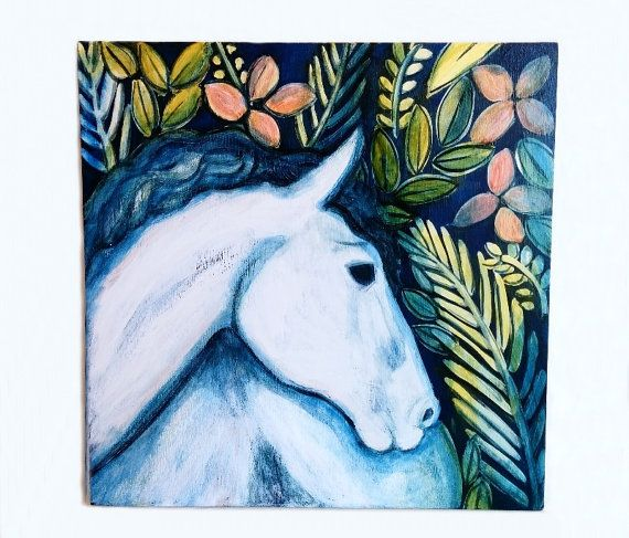 Original Horse Art Painting Mixed Media Artwork 12x12 by Lunartics