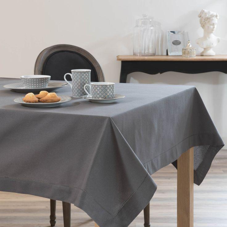 Nappe unie en coton anthracite 150 x 250 cm - Maison du Monde 30€