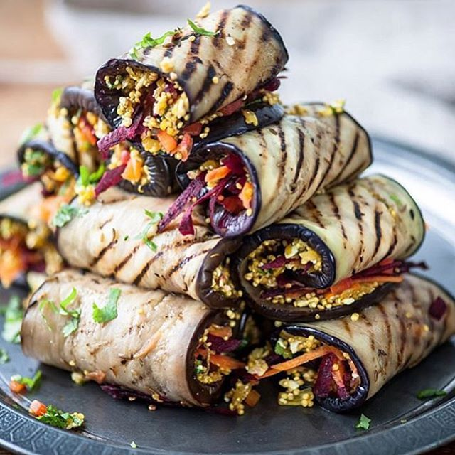 Today's lunch! Grilled eggplant stuffed with a quinoa salad