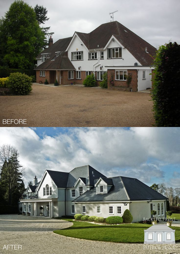 Dramatic New England style transformation in Surrey. The property has been completely remodelled and refurbished, creating a beautifully finished family home. By Back to Front Exterior Design