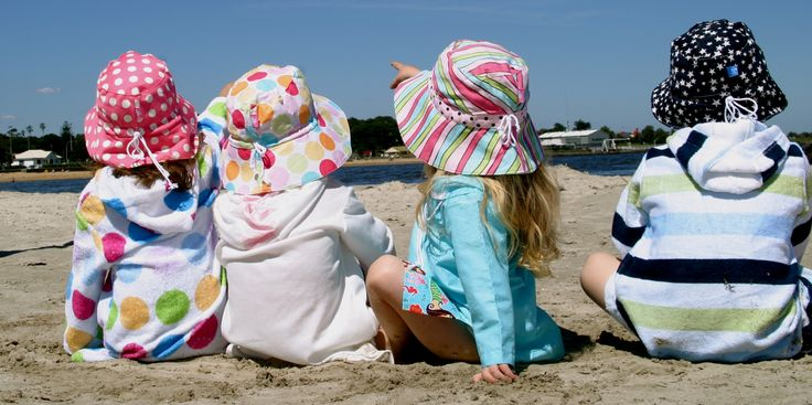 EJ Kids Bamboo Towelling Swim Robes and Lightweight Sun Tunics, sizes Newborn to 10yrs. With hood, full sleeves, kangaroo pocket and fully opening front zip.