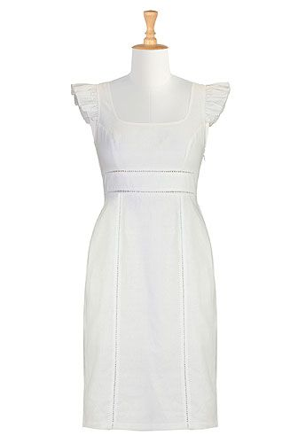 Ladder laced linen sheath dress. a white linen dress... of course I love it. And of course the second I put it on, Livie'll come flying at me with goop on her hands!