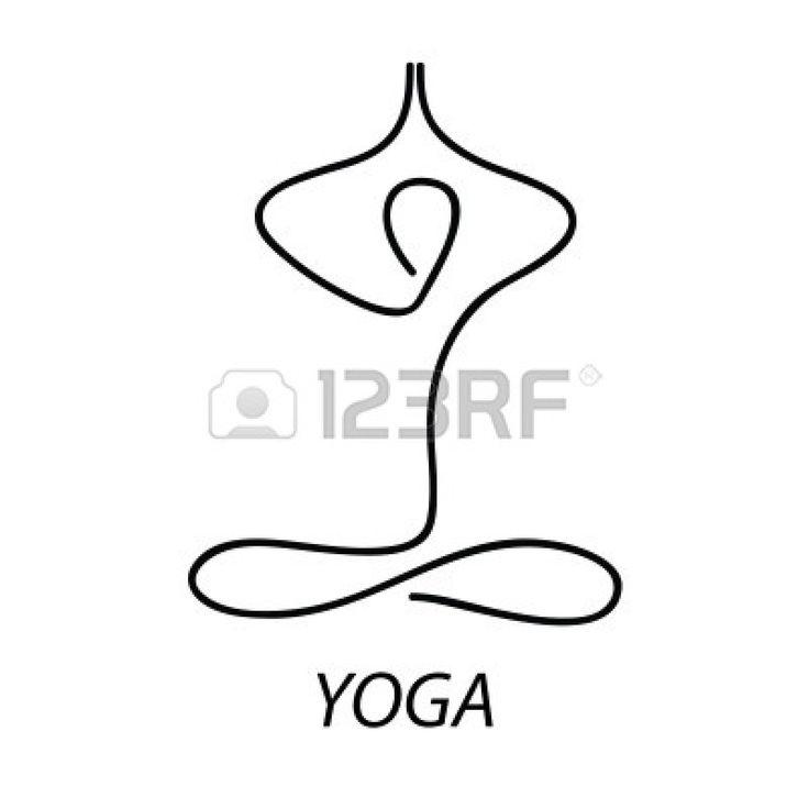 Yoga - teken. Symbool - de lotus houding. Meditatie. Ontspannen. Stockfoto - 9717239