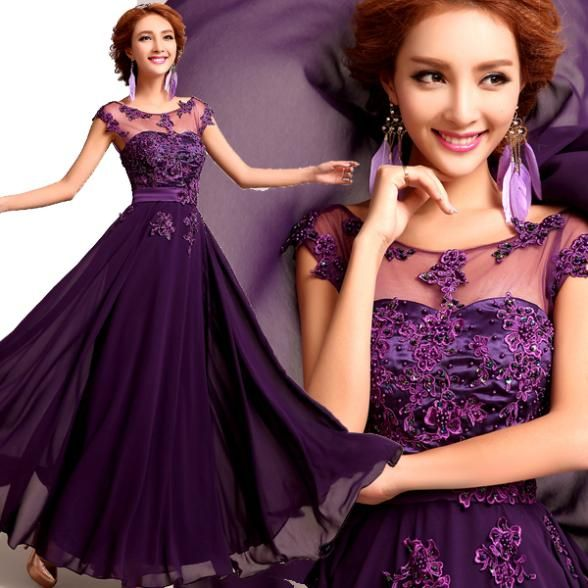 short sleeve floor-length embroidery lace long evening dress 2014 new fashion formal dresses US $72.49
