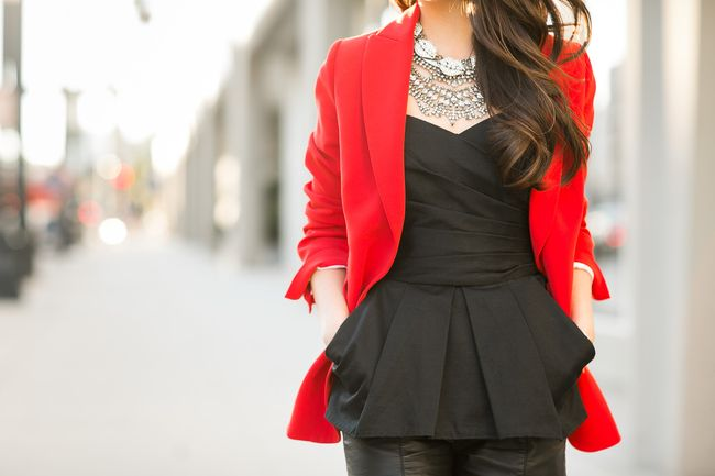 Scarlet :: Red blazer  Top :: Joseph blazer (similar here), vintage corset Bottom :: Forever 21 (old) (similar here) Bag :: Alexander McQueen (old) (current season) Shoes :: Gianvito Rossi Accessories :: Lulu Frost lips necklace, Dylanlex bib necklace