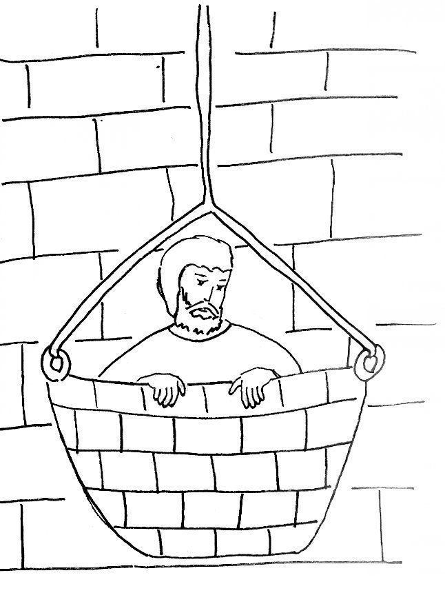 Bible Story Coloring Page for Saul (Paul) Escapes in a ...