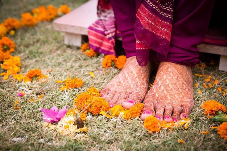 Haldi ceremony at Indian wedding, Delhi summer wedding, indian customs, traditions, marigold, bridal mehendi, candid wedding photography