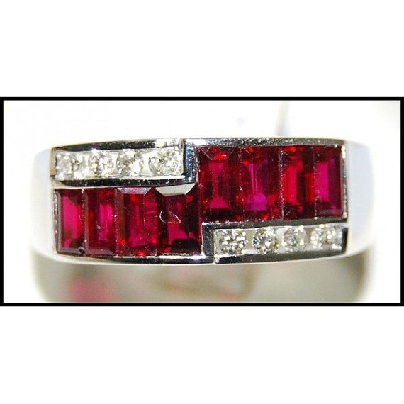 http://rubies.work/0555-emerald-rings/ For Men Ruby Ring and Diamond Unique 18K White Gold by BKGjewels