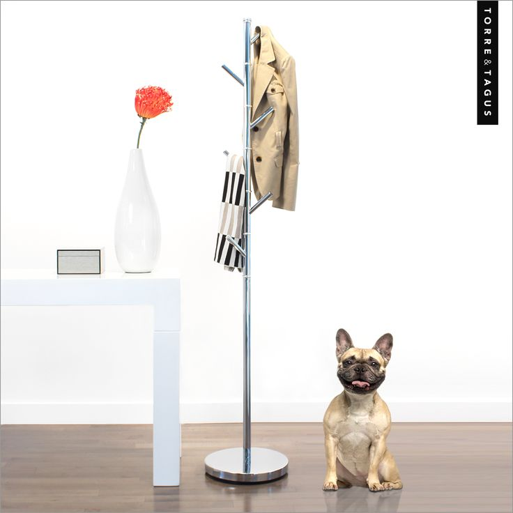 Organize your entrance area with our Sugaro 6 Hook Coat Rack.  The staggering hooks provide a simple way to organize your coats, sweaters and scarves and make them easy to see as you rush out the door! #TorreAndTagus #OrganizeYourHome #CoatRack #FrenchBulldog #Puppy www.torretagus.com