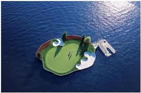 A floating green for closest to the pin competitions.