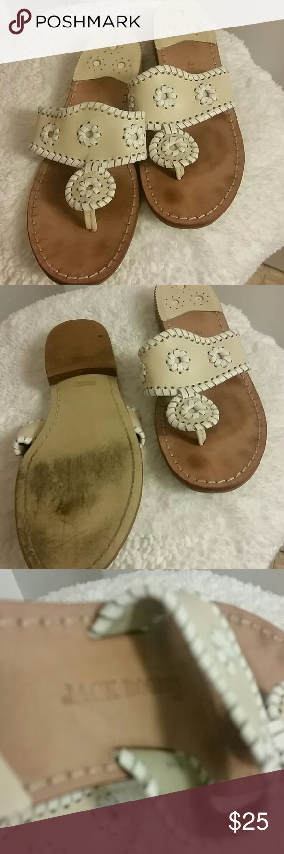 Jack Rodgers sandals Cream leather  oervious loved tong sandal. With woven design leather upper I believe to be 7- 7 1/2 Jack Rogers Shoes Sandals