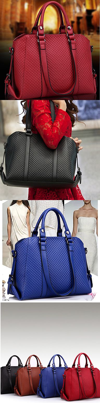 Stylish, spacious one shoulder bag. It comes in red, black, blue, and beige. Click on the picture to see more!
