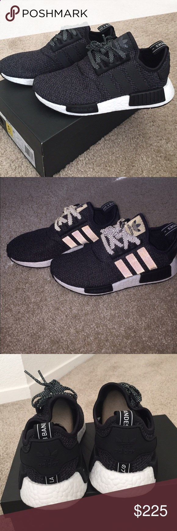 Brand new adidas NMD R1 size 5.5y (womens 7) Brand new in box, 100% authentic adidas NMD in kids 5.5y which is equivalent to a womens 7. These are the champ exclusives with 3M laces and stripes. Color is black and second picture is taken with flash Adidas Shoes Sneakers