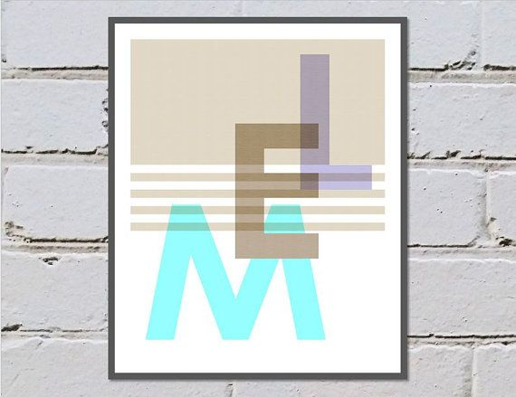 MEL print digital download, Melbourne Australia, pastel blue turquoise soft brown and purple - Made by Gia $4.50