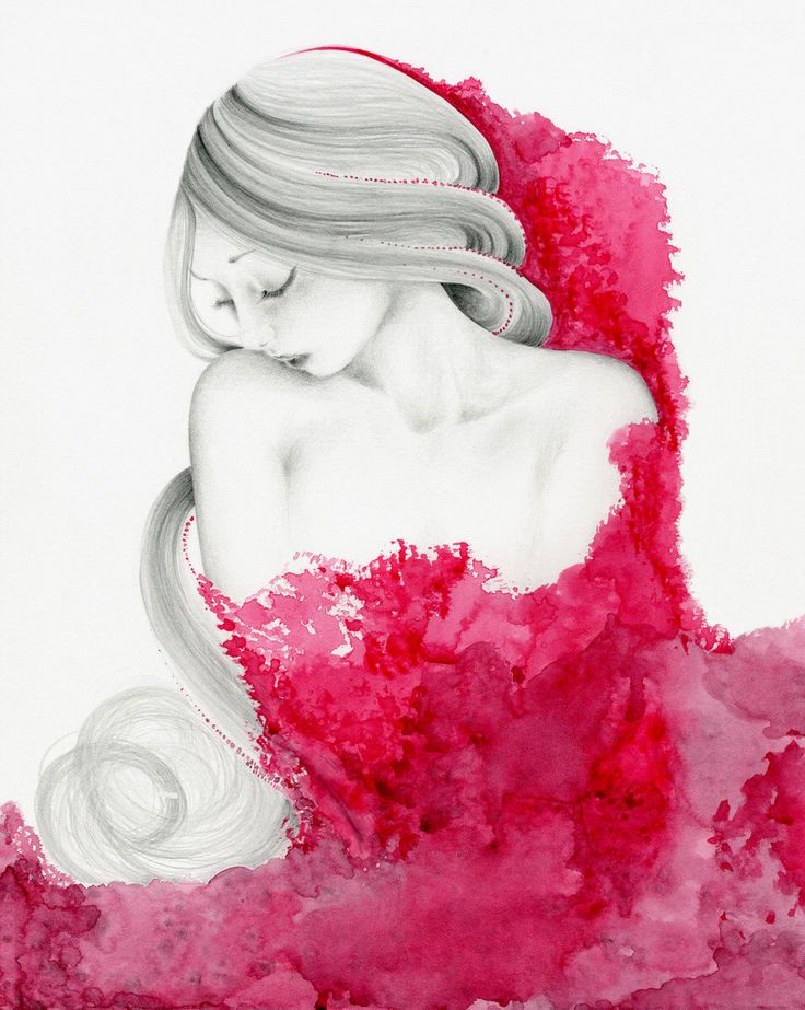 """She's """"Consumed"""" Watercolor Painting Pencil Drawing Fine Art Giclee Print of my Original Watercolor Painting Beautiful Women Sad Girl Art by ABitofWhimsyArt on Etsy https://www.etsy.com/listing/110936739/shes-consumed-watercolor-painting-pencil"""