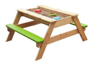 Kindersitzgarnitur aus Holz mit integriertem Sandkasten, natur-grün, Sun