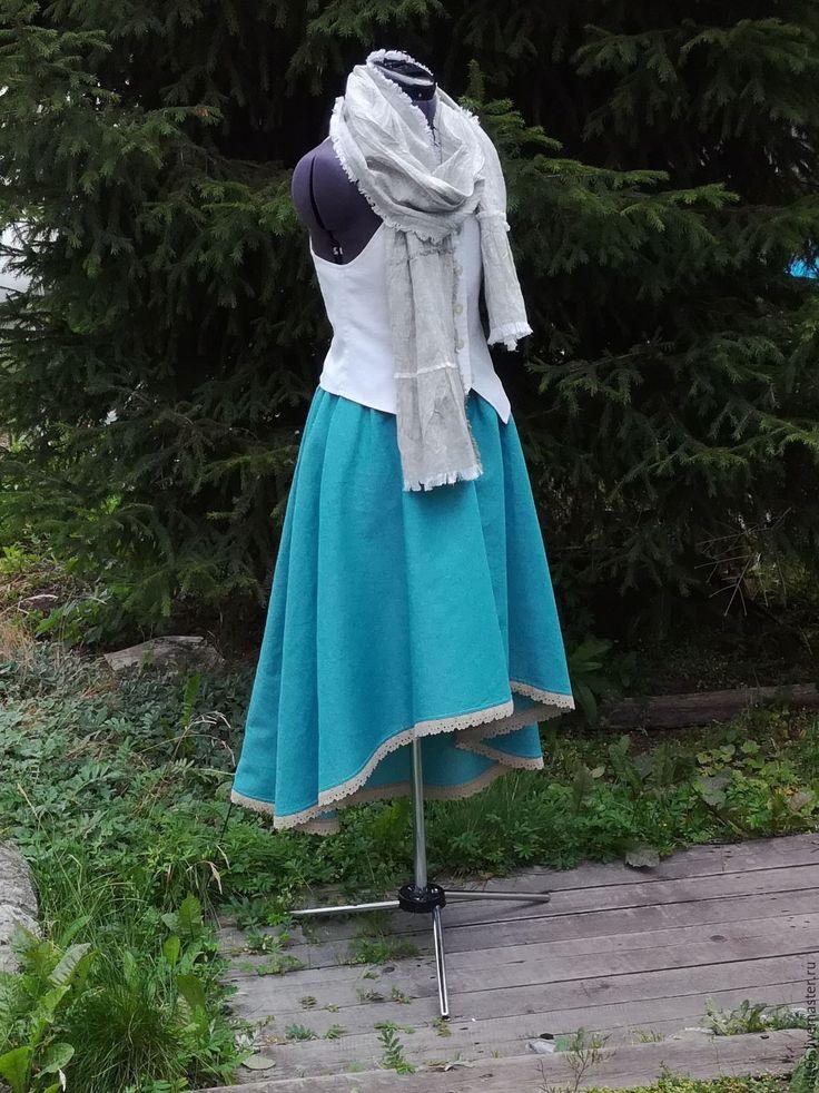Купить №166.1 Льняная юбка с карманами - юбка льняная, юбка бохо, бохо юбка