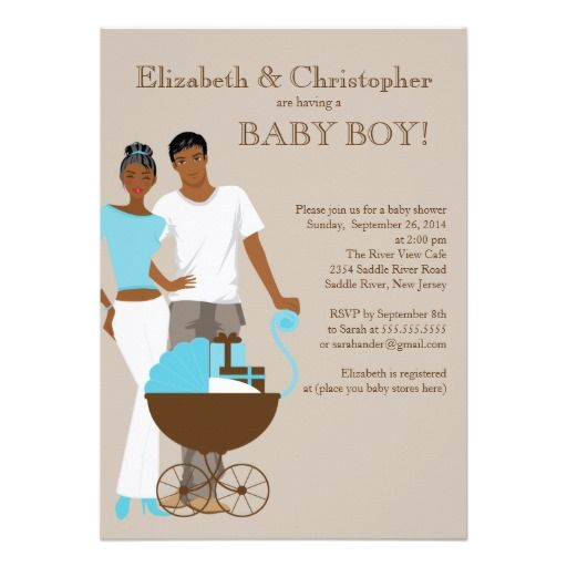 28 best baby shower invitation wording images on pinterest shower african american couple carriage baby shower announcements stopboris Images