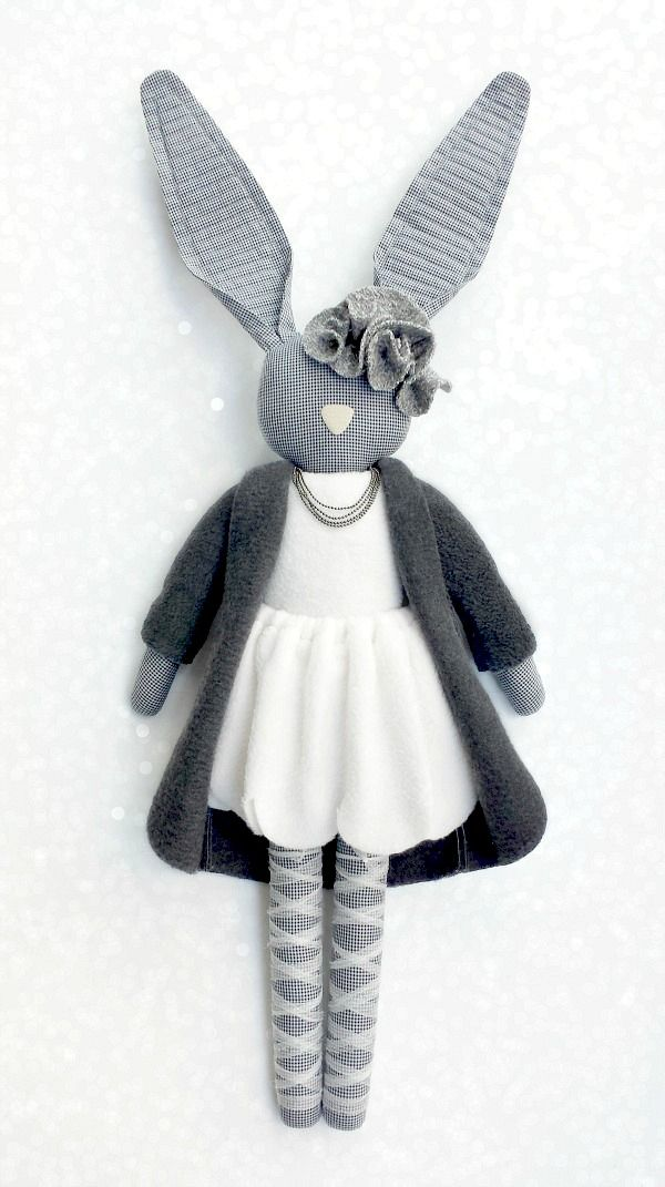 Fabric Bunny by Navy Plum| This is a lovely bunny| so cute
