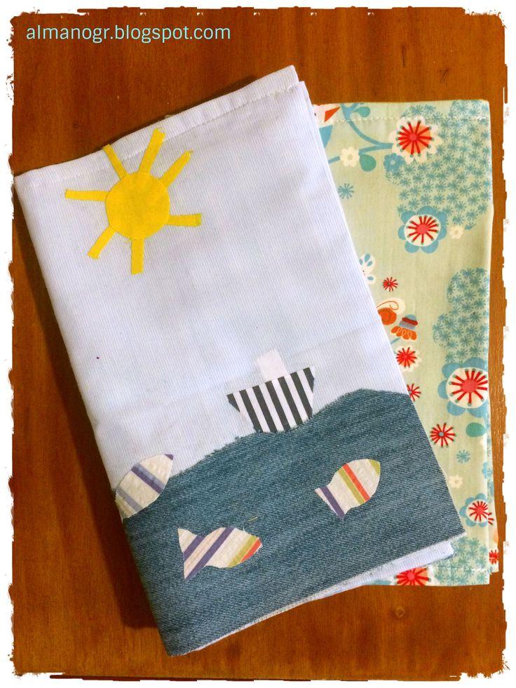 Handmade fabric case for baby's health booklet #handmadefabriccase #healthbookletfabriccase #bookletcase #nurserygift #newborngift #almanogr