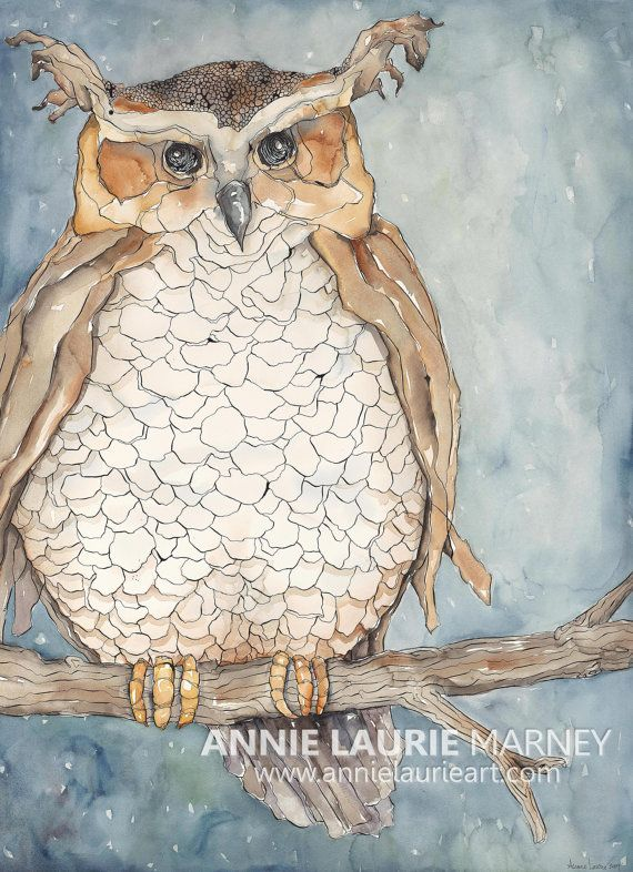 """Love this owl from AnnieLaurieArt on Etsy Whimsical, Vintage Owl - 18x24"""" Watercolor Fine Art Print"""