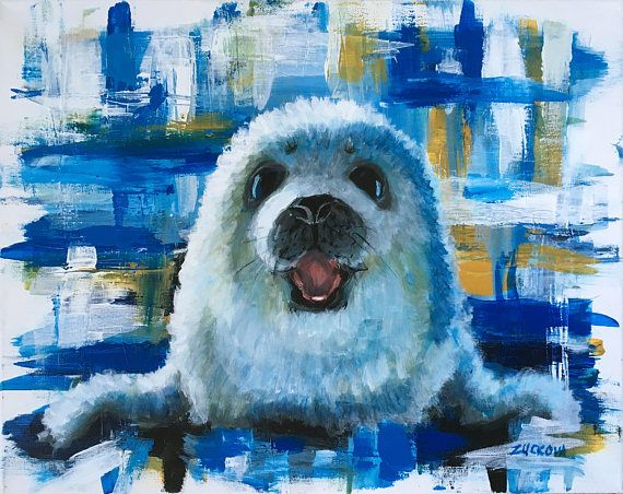 Happy Seal  Original acrylic painting on canvas. Signed.  16x 20  I just love this painting of a seal, makes me smile every time I look at it and I hope itll do the same to the lucky owner. In my latest style I like to combine soft brushes with very strong contrasting background. I call it my