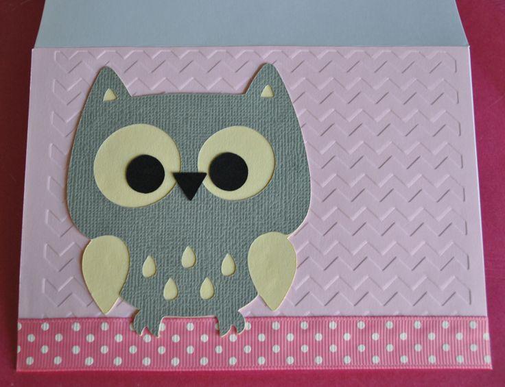 Hoot!  Pink, Lemon and Grey Owl Card