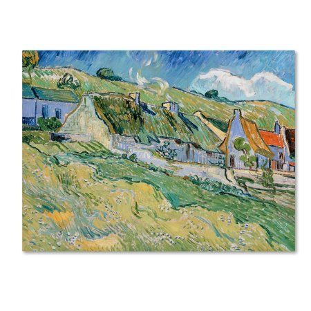 Trademark Fine Art 'Thatched Cottages' Canvas Art by Van Gogh, Green
