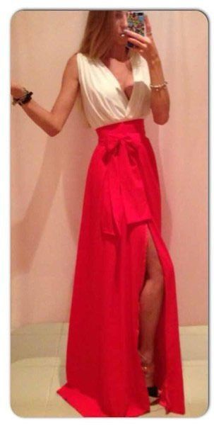 Zomer mouwloze v-hals rode avond feestjurk sexy slit vloer prom lange jurk zonnejurk robe longue femme MK296