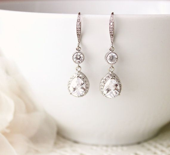 Crystal Bridal Earrings Wedding Earrings by DreamIslandJewellery