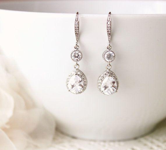 Matrimonio gioielli Crystal nozze gioielli da sposa nuziale di cristallo Orecchini penzolano argento zirconi goccia orecchini da sposa Regali