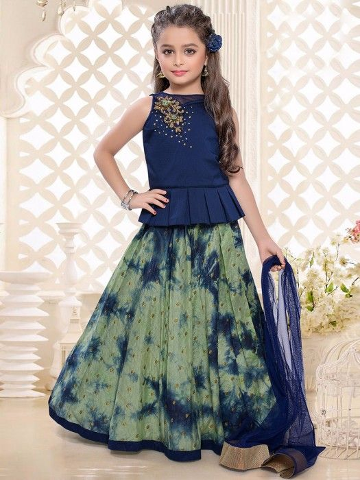 Shop Navy olive printed dressy lehenga choli online from G3fashion India. Brand - G3, Product code -  G3-GCS0441, Price - 3595, Color - Navy, Olive, Fabric - Silk,