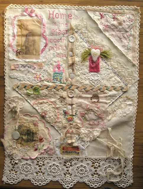 sweet stitching sampler of lace, buttons, embroidery, etc....