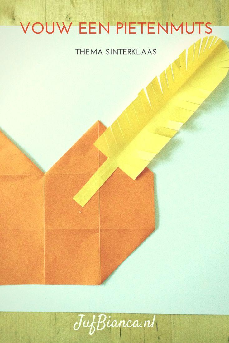 In het thema Sinterklaas heb ik vandaag een vouwwerkje. Als de kinderen 16 vierkantjes kunnen vouwen, kunnen ze wellicht deze pietenmuts maken! - Lespakket